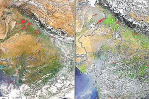 A combination of satellite images by Nasa from October 3, 2017 (left) and October 3, 2018 show fewer red spots signifying farm fires in northern India.