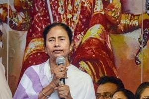 West Bengal chief minister Mamata Banerjee addresses during the inauguration of a pandal ahead of Durga Puja festival, in Kolkata, on October 5, 2018.