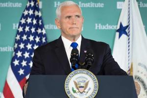 US Vice President Mike Pence addresses the Hudson Institute on the administration