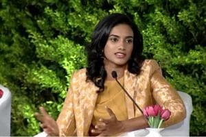 Indian badminton player PV Sindhu speaks at the Hindustan Times Leadership Summit 2018.