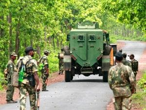 Security forces patrolling  a forest area in Bengal's Jhargram district where Maoists had a strong  base till 2011.