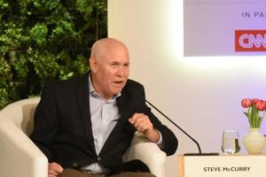 Steve McCurry, Photographer and Visual Storyteller and Raghu Rai, Photographer and Associate, Magnum Photos during the Hindustan Times Leadership Summit at Taj Palace, in New Delhi, India, on Saturday, October 6, 2018.