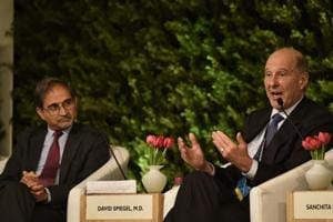 Dr. Shekhar Saxena, Visiting Professor, Harvard T.H. Chan School of Public Health and David Spiegel, M.D., Willson Professor and Associate Chair of Psychiatry and Behavioural Sciences, Stanford University School of Medicine during the Hindustan Times Leadership Summit at Taj Palace inNew Delhi, India, on Saturday, October 6, 2018.