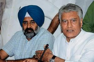 Punjab Congress president Sunil Jakhar (right) and party MLA Pargat Singh in Jalandhar on Saturday.