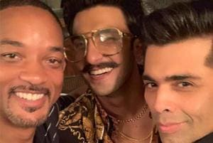 Will Smith (left) with Ranveer Singh (centre) and Karan Johar.