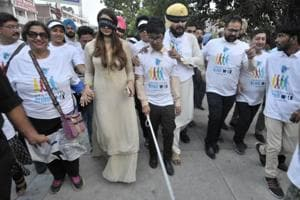 Last year, Navjot Singh Sidhu marched with blind students to mark World Sight Day at Sector 17, Chandigarh, October 12,2017