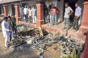 Unidentified people set ablaze the hostel room and belongings of newly-elected Allahabad Central University Students' Union president Uday Prakash Yadav, following the election result.