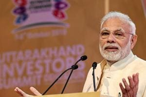 Prime Minister Narendra Modi addresses the 1st Uttarakhand Investors Summit 2018, in Dehradun, Uttarakhand, on Sunday, October 07, 2018.