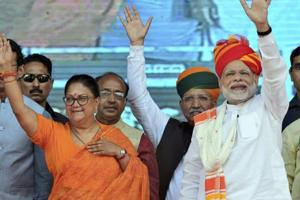 Prime Minister Narendra Modi and Rajasthan Chief Minister Vasundhara Raje during a  public meeting in Ajmer, Saturday, Oct 6, 2018.  Rajasthan goes to poll on December 7.