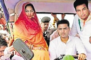 Rajasthan State Congress chief Sachin Pilot drives a tractor to a rally of farmers in Pahari area of Bharatpur district on Sunday, October 7, 2018.