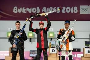 Shahu Tushar Mane (right) won the silver medal in the Shooting Men