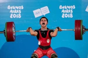 Lalrinnunga Jeremy in action during the Weightlifting Mens 62kg Group A competition in the Youth Olympic Games.