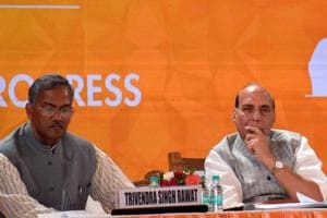 Uttarakhand chief minister Trivendra Singh Rawat with Union home minister Rajnath Singh at the Uttarakhand Investors Summit, Monday, October 8, 2018.