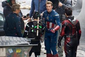 A still of Robert Downy Jr, Chris Evans from the sets of Avengers 4.