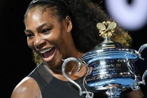 Serena Williams holding the winner