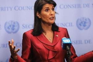 United Nations (UN) ambassador Nikki Haley speaks to the media ahead of the start of next weeks General Assembly meeting at the United Nations in New York City on September 20.