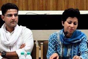Rajasthan Congress president Sachin Pilot, Congress leader and Rajya Sabha MP  Kumari Selja, and former CM Ashok Gehlot at a press conference in Jaipur on Monday, October 8, 2018.