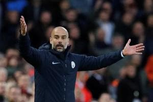 Manchester City manager Pep Guardiola reacts during the match against Liverpool.