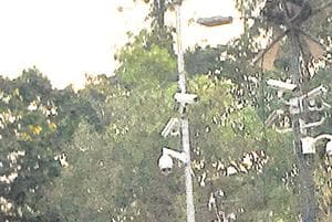 CCTV cameras installed near Shinde high school on Golawalkar Guruji road in Sahakarnagar area.