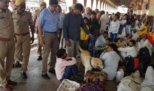 Police checking drive at Aligarh railway station after bomb threat.