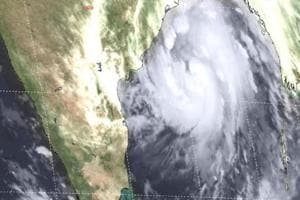 A satellite image of cyclone Titli. The storm is expected to make landfall on the Odisha-Andhra Pradesh coast by Thursday morning.