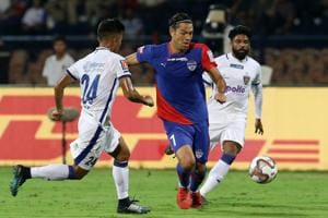 Nicolas Ladislao Fedor Flores of Bengaluru FC in action during match 2 of the Indian Super League 2018 ( ISL ) between Bengaluru FC and Chennaiyin FC.