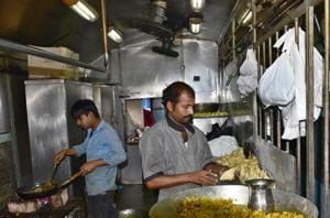 Food being prepared in Train Pantry at Ludhiana Railway station. Railways will offer 'vrat ka khana' (food during fasting) as a part of its e-catering menu during the Navratri festival which started on Wednesday, IRCTC said.