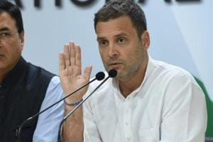 Congress president Rahul Gandhi holds a press conference in New Delhi on Thursday.