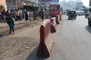 Barricades have been kept at Shivaji chowk for a stretch enough to qualify as a bus stop.