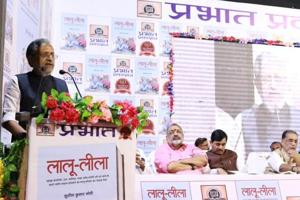 Bihar deputy chief minister Sushil Modi speaks at the launch of his book 'Lalu Leela' in the presence of BJP leaders Ravi Shankar Prasad, Shahnawaz Hussain and Giriraj Singh.