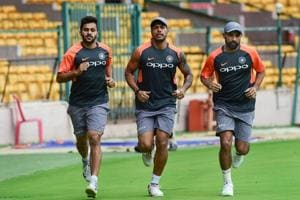 File photo of  Mohammed Shami, Umesh Yadav and Shardul Thakur during a practice session.