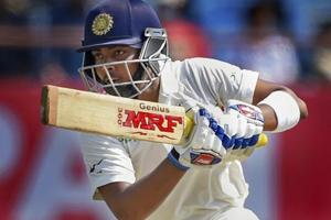 Indian batsman Prithvi Shaw plays a shot on day one of the 1st Test match against West Indies, in Rajkot, Thursday, Oct 4, 2018. Shaw became the youngest Indian cricketer to score a century on Test debut.
