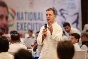 Congress president Rahul Gandhi speaks at the Indian Youth Congress (IYC) National Executive in Jaipur.