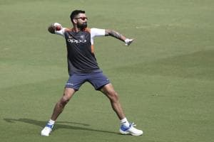 Virat Kohli trains ahead of the second Test against the West Indies.