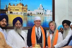 Canada's Conservative Party leader Andrew Scheer along with his wife Jill Scheer paid obeisance at Golden Temple in Amritsar on Wednesday.