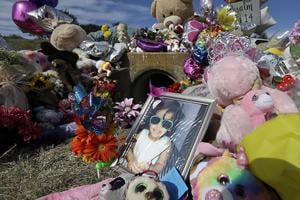 A photograph of 3-year-old Sherin Mathews at a makeshift memorial, October  2017, in Richardson, Texas.