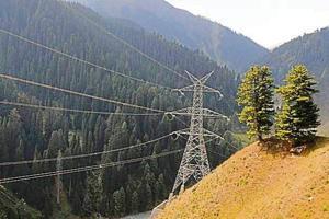 Transmission tower on the Pir Panjal range in Jammu and Kashmir.