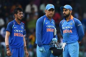 File picture of Chahal, Kohli and Dhoni