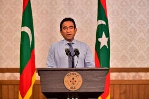 Maldivian President Abdulla Yameen speaks as he gives a statement at President office in Male, Maldives.