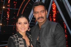 Actor Ajay Devgn along with his wife Kajol on the sets of singing reality show Indian Idol 10 in Mumbai.