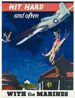 Avintage WW2 poster of the USMarines. Amore contemporary model crash lands in a camp somewhere in Pakistan in Red Birds.