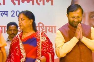 Rajasthan CM Vasundhara Raje and Union HRD minister Prakash Javadekar at Nari Shakti Sammelan in Jaipur on Thursday, October 12, 2018.