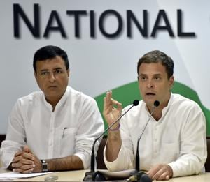 Congress Party president Rahul Gandhi with spokesperson Randeep Singh Surjewala  during a press conference on the issue of Rafale deal at the AICC headquarters in New Delhi, September 22. Rahul Gandhi is trying to use this scandal as a lethal weapon during the 2019 election campaign
