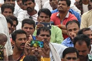 Farmers and youth attend a political rally in Ujjain, in May 2018. Madhya Pradesh goes to polls on November 28.
