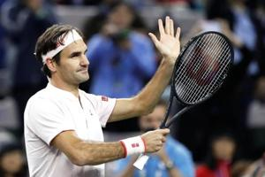 Tennis - Shanghai Masters - Shanghai, China - October 11, 2018 - Roger Federer of Switzerland celebrates his win against Roberto Bautista Agut of Spain.
