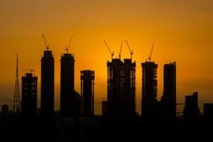 High rise towers silhouetted during sunset in Mumbai