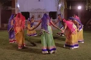"""Girls from Ahmedabad's Andh Kanya Prakash Gruh performed the """"garba"""" on a song penned by PMModi."""
