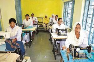 Women inmates engaged in sewing work at Kanda Jail in Shimla on Friday.
