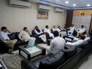 Senior Congress and NCP leaders during a meeting in Mumbai on Friday.