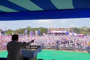 Bahujan Samaj Party (BSP) chief Mayawati addressing a rally.